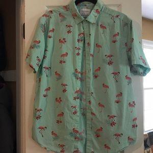 Hawaiian shirt with pink flamingos!
